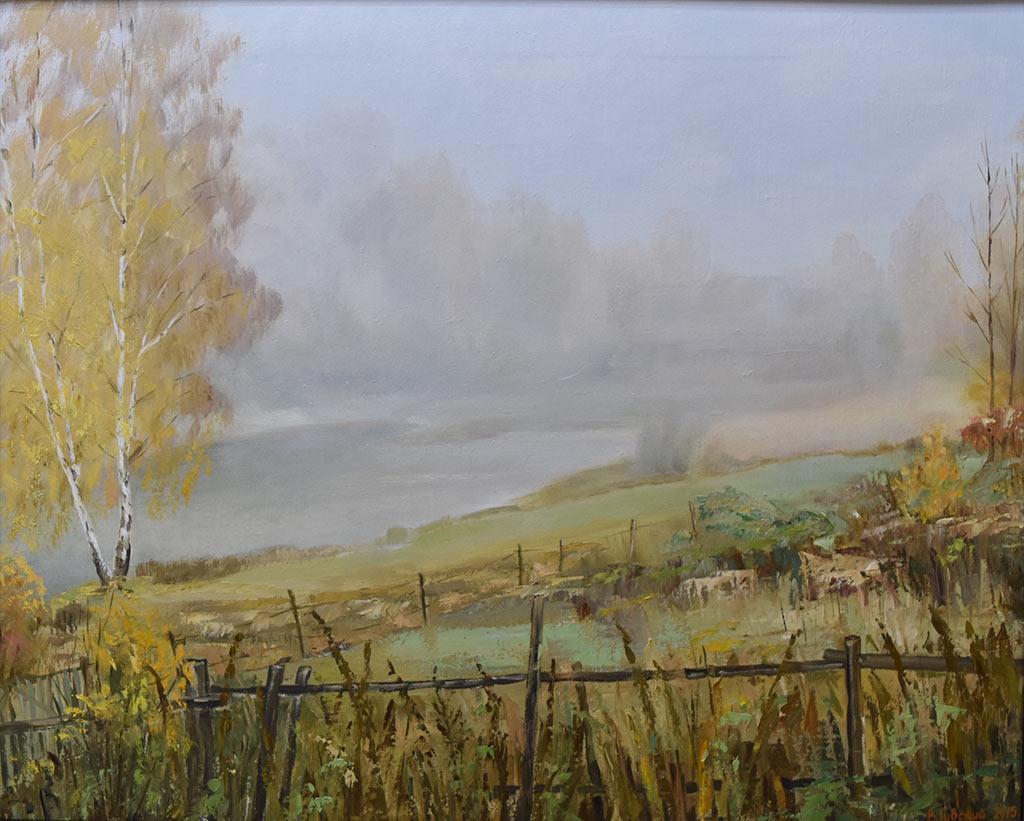 Владимир Губский. Туманное утро в Комягино. Холст, масло, 2015 год