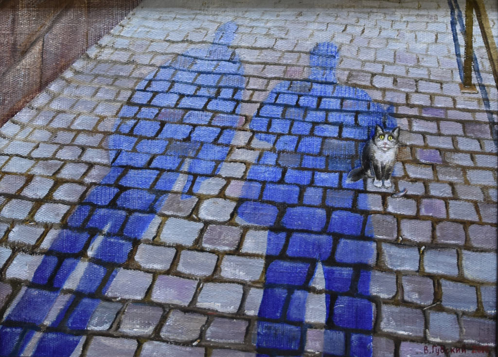 Владимир Губский. Автопортрет с другом, мостовая в Нюрнберге. Холст, масло, 2015 год